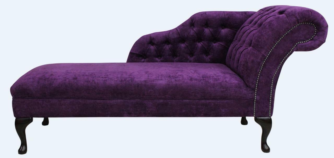 Chesterfield Chaise Lounge Loungue Day Bed Velluto Amethyst Purple Fabric Ebay