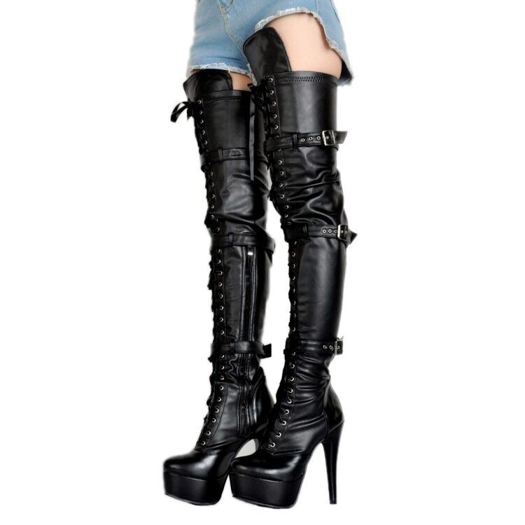 sport dello shopping online New donna Platform High Heels Lace up Over The The The Knee stivali Buckle Strap Sexy Y783  compra nuovo economico