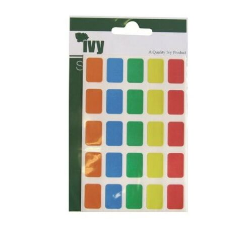 IVY Stickers Adhesive Sticky Labels Rectangle Squares Assorted Colours 12x18mm