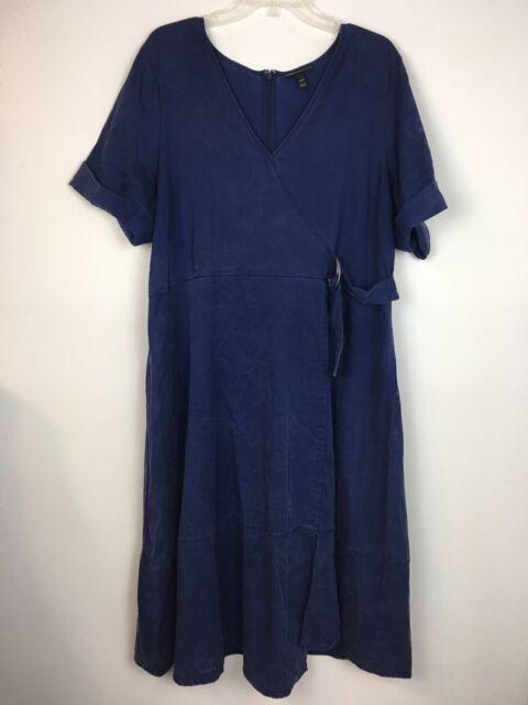 Glamour x Lane Bryant Women's Dark Blue Short Sleeve V-Neck Long Dress Sz 18/20