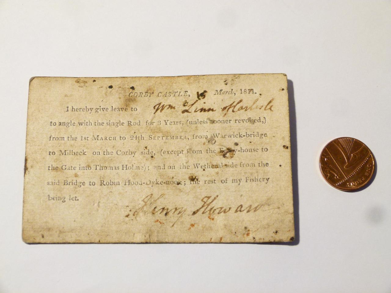 1811 Henry Howard CORBY Castello Rod PERMESSO DI LICENZA DI PESCA SU 6 Palette Carta  CCA