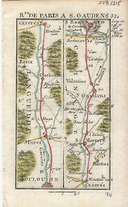 Antique-map-Road-Toulouse-to-Saint-Betrand-1774-Guide-Royal-par-L-Denis