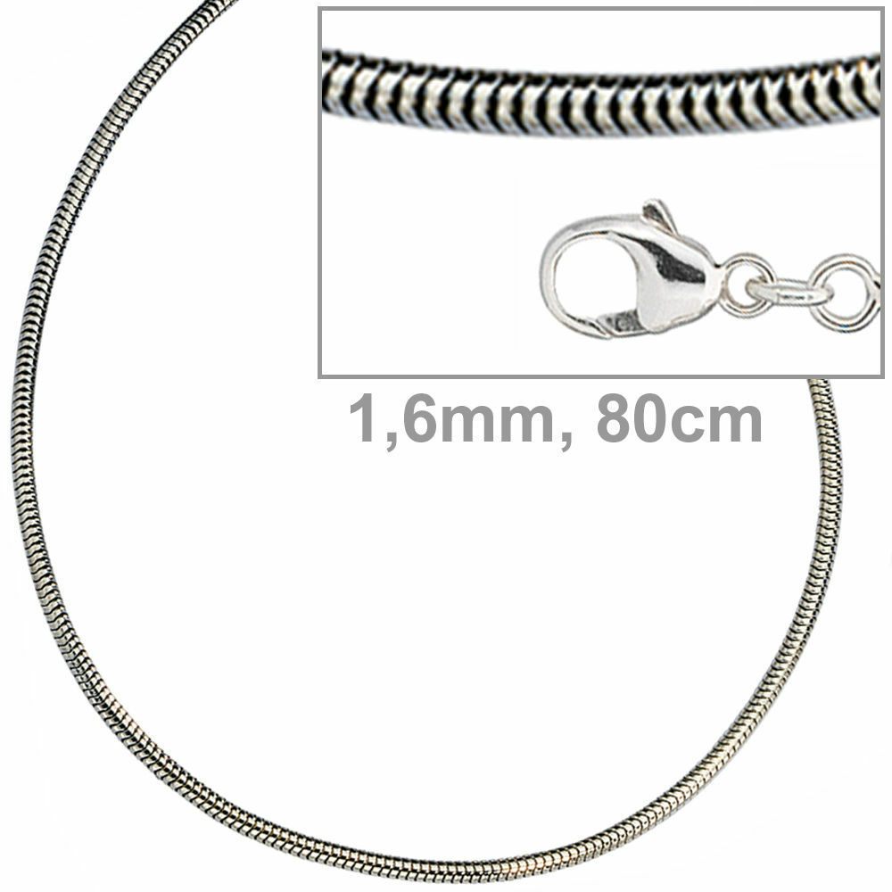 Serpenti CATENA 925 in puro argentoo 1 6 mm 80 80 80 cm Collana Catena argentoo Donna Uomo d37706