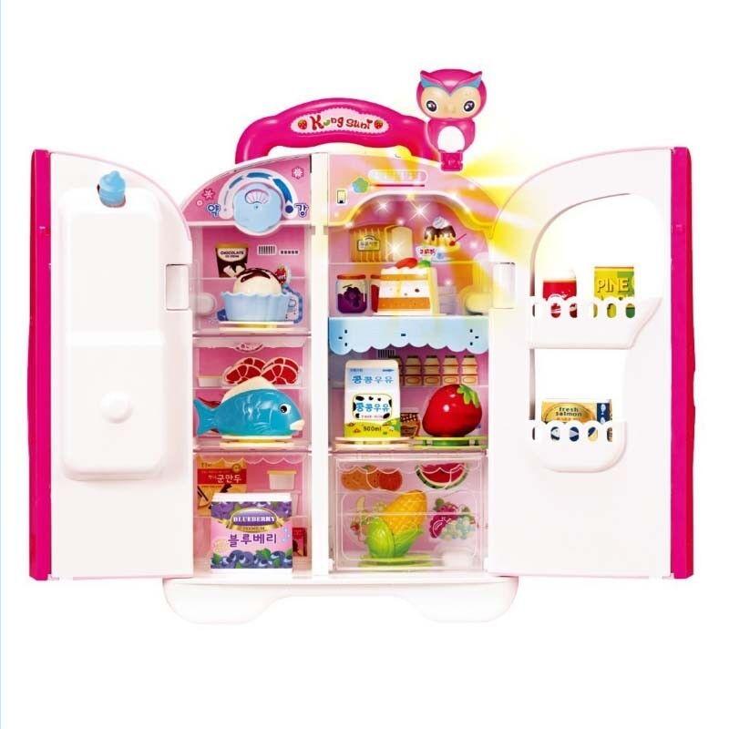 KONGSUNI hablando Refrigerador Para Niños Juguete Dispensador De Agua Refrigerador Juguete conjunto de alimentos