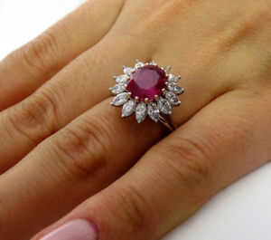 5Ct-Oval-Cut-Pink-Ruby-Marquise-Diamond-Cocktail-Floral-Ring-14K-White-Gold-Over