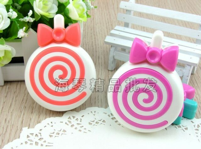 Cute Lollipop Mini Contact Lens Case Kit including 4 essential items inside