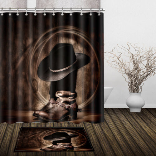 Western Cowboy Shoes on Wooden Board Fabric Shower Curtain Set Bath Accessories