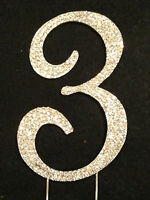 Large Rhinestone Number 3 Cake Topper Silver Gold Crystal Birthday Anniversary