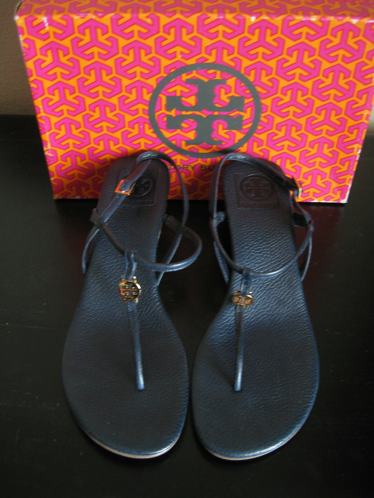 NEW IN BOX TORY BURCH EMMY DEMI blueeE LEATHER THONG WEDGE SHOES SANDALS SIZE 10.5
