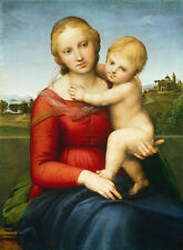 Huge art Oil painting The small Cowper Madonna - Mary & child Christ on canvas