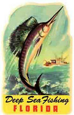 "Florida ""Deep Sea Fishing""  Sailfish   Vintage-50's Style   Travel Sticker/Decal"