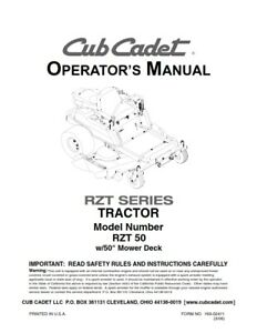 Cub cadet rzt 50 tractor operators manual reprinted comb bound ebay image is loading cub cadet rzt 50 tractor operators manual reprinted publicscrutiny Gallery