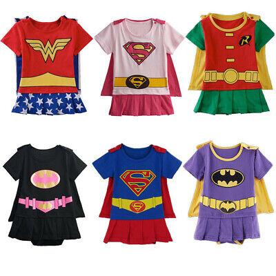 Baby Boy Girl Superhero Costume Bodysuit Infant Jumpsuit Outfit Newborn Playsuit
