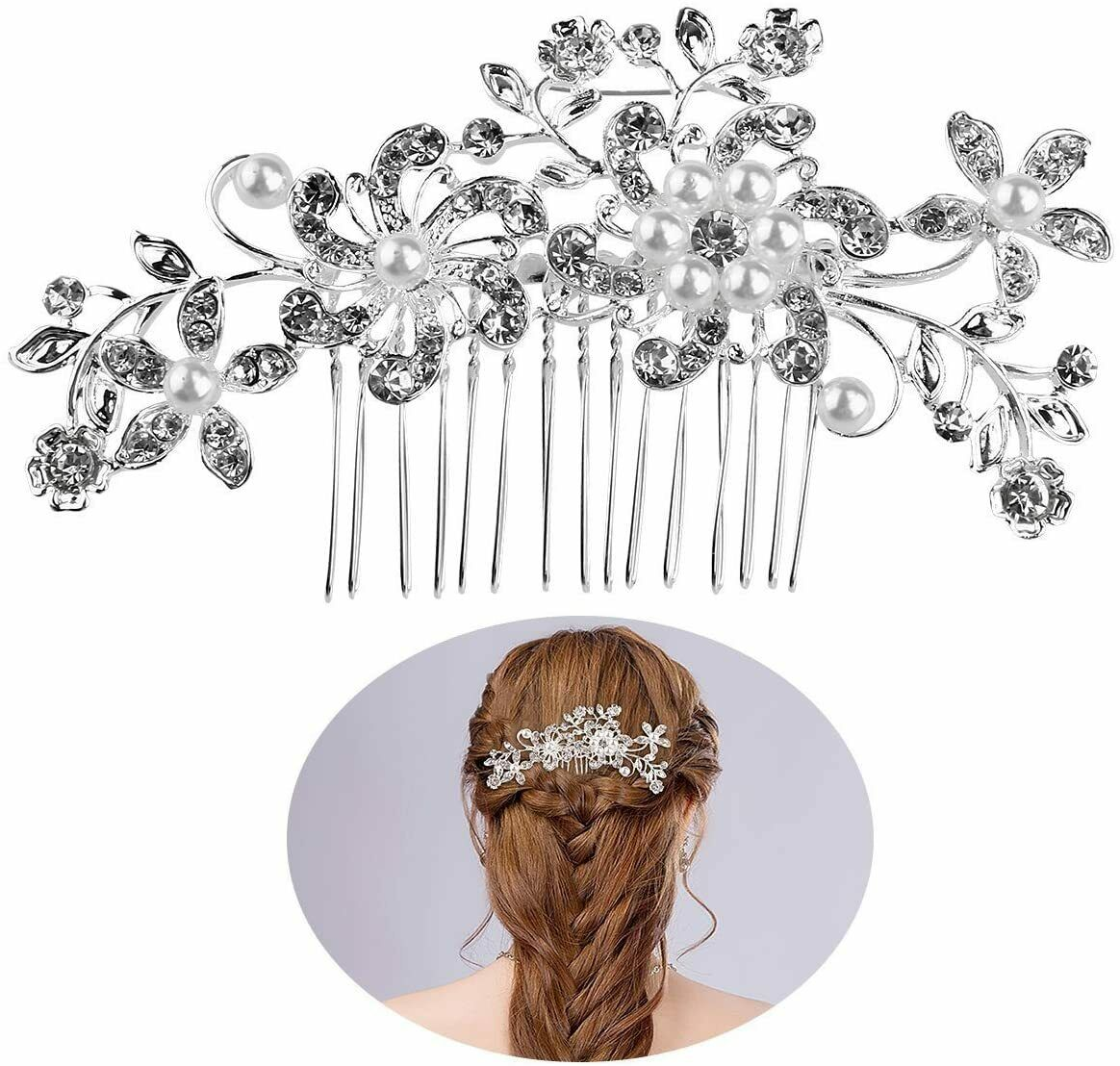 Bridal Bridesmaid Flower Wedding Crystal Hair Clips Jewelry Hair Pins Party