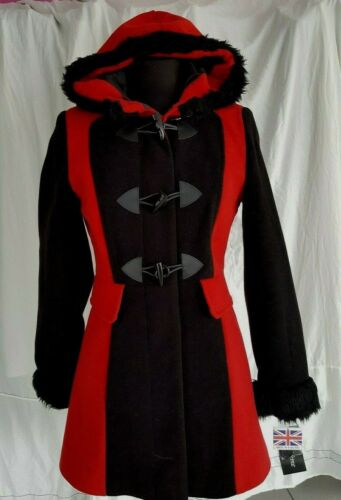 Gorgeous Womens Red /& Black Coat De La Creme Made in England Size 8  WAS £75
