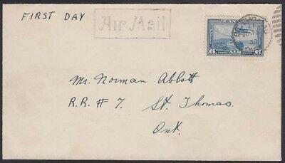 1938 Ont Ersttagsbrief Luft C6,st.thomas SchöN Kanada