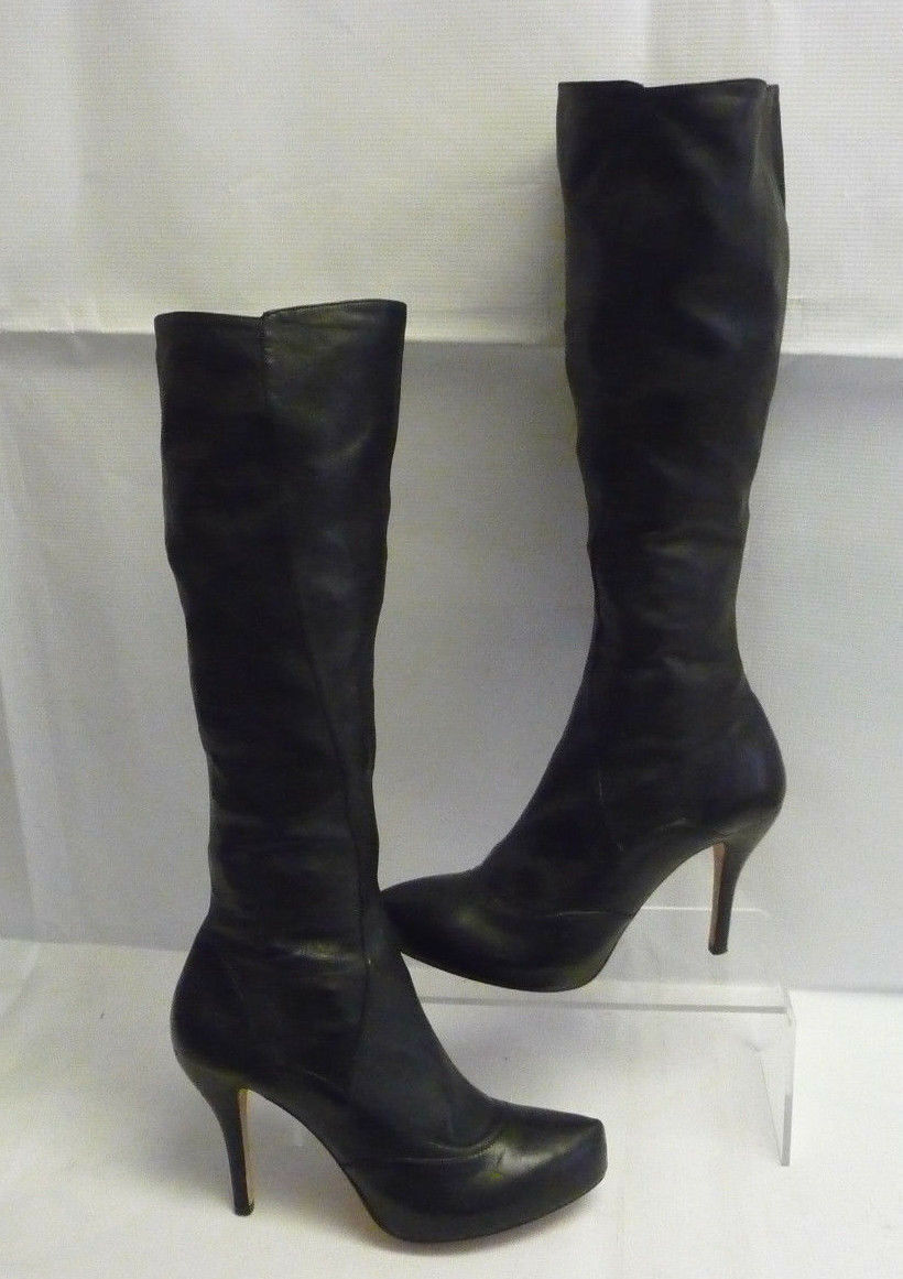 MAX STUDIO Womens Tall 7M Boots Knee High Sz 7M Tall Black Zip Leather Heels Platform 88b53f