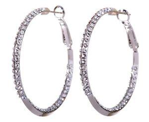 Swarovski-Elements-Crystal-1-1-2-034-Baha-Hoop-Earrings-Rhodium-Authentic-New-7213u