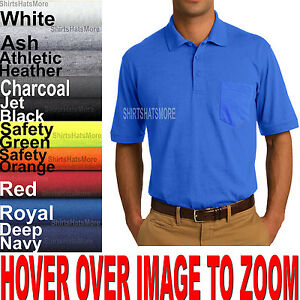 Mens-Polo-Sport-Shirt-With-POCKETS-Jersey-Blended-Golf-S-M-L-XL-10-Colors-NEW