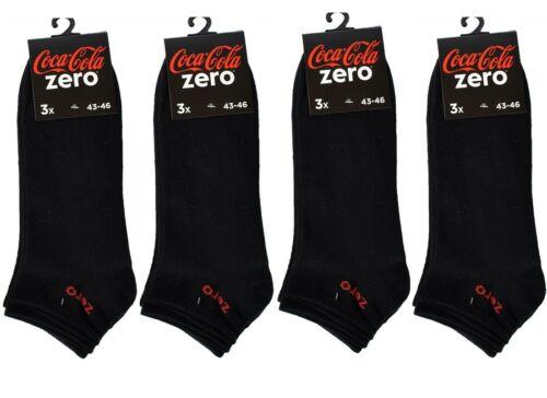 Coca Cola Zero 12 Paar Sneakersocken Schwarz 43-46 Freizeitsocken Socken