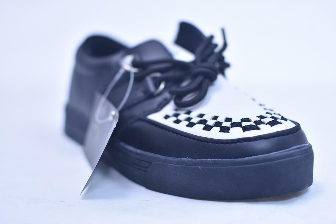 TUK BLACK Weiß LEATHER WOVEN CREEPER SNEAKERS # A6092 UNISEX 40 7 9 40 UNISEX NOS PUNK 181e00