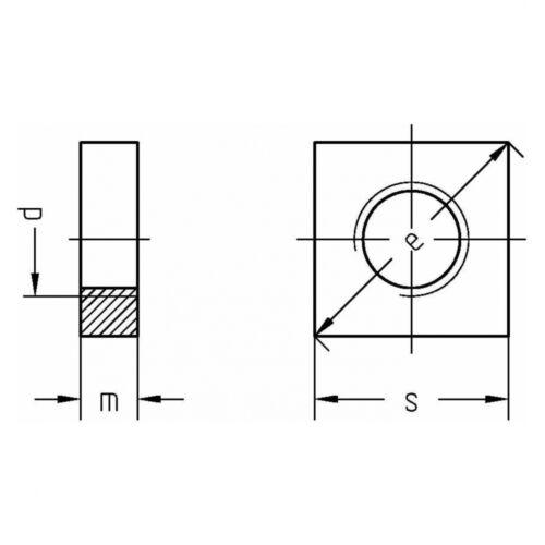 A4 blank M 3 niedrige Form 10x DIN 562 Vierkantmuttern