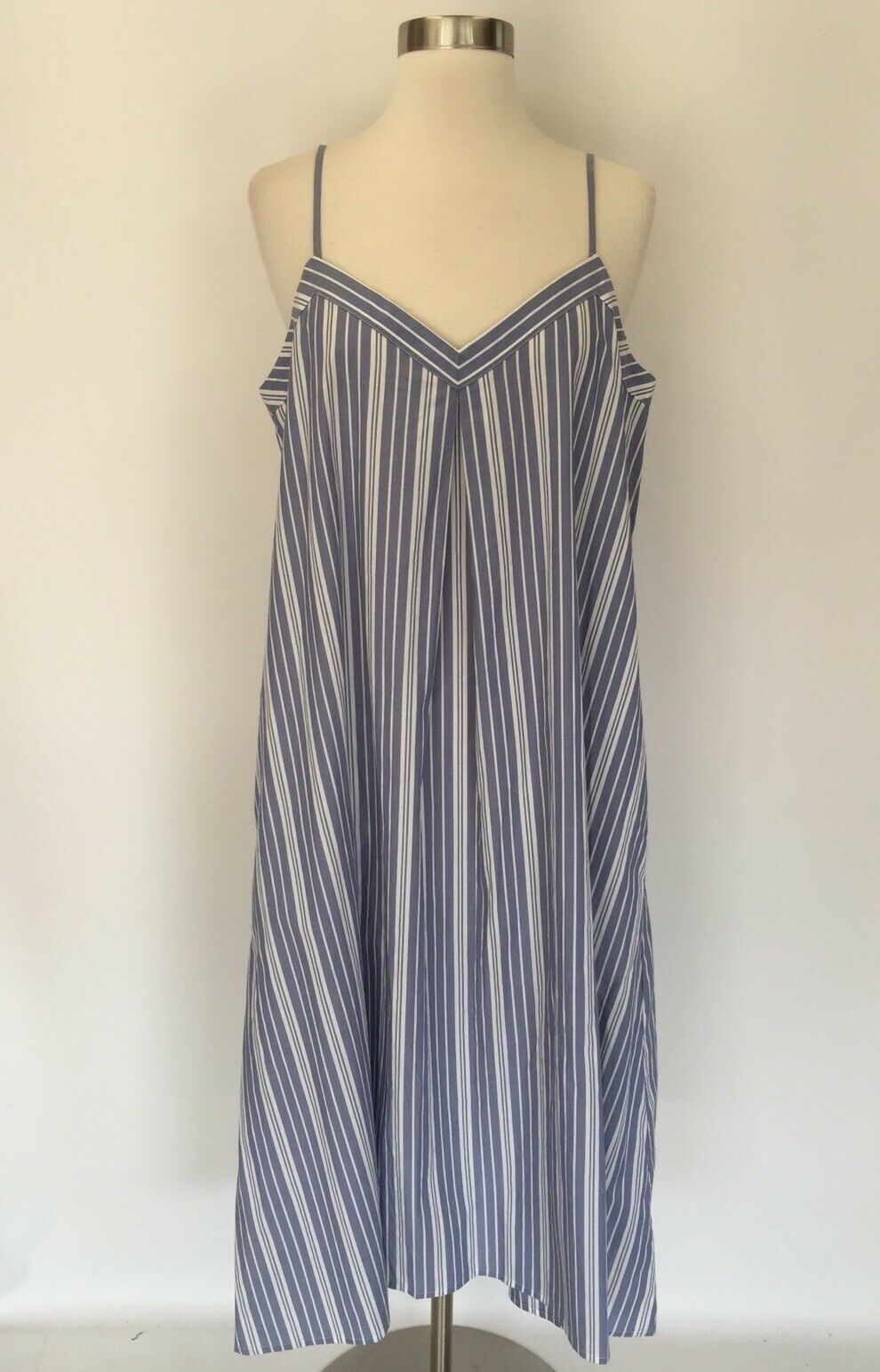 Madewell Striped Midi Sundress bluee bluee bluee White Size L Large C6381  110 83feb8