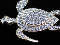 Monet Rhinestone Slider Leather Back Logger Head Turtle Pin Brooch Jewelry