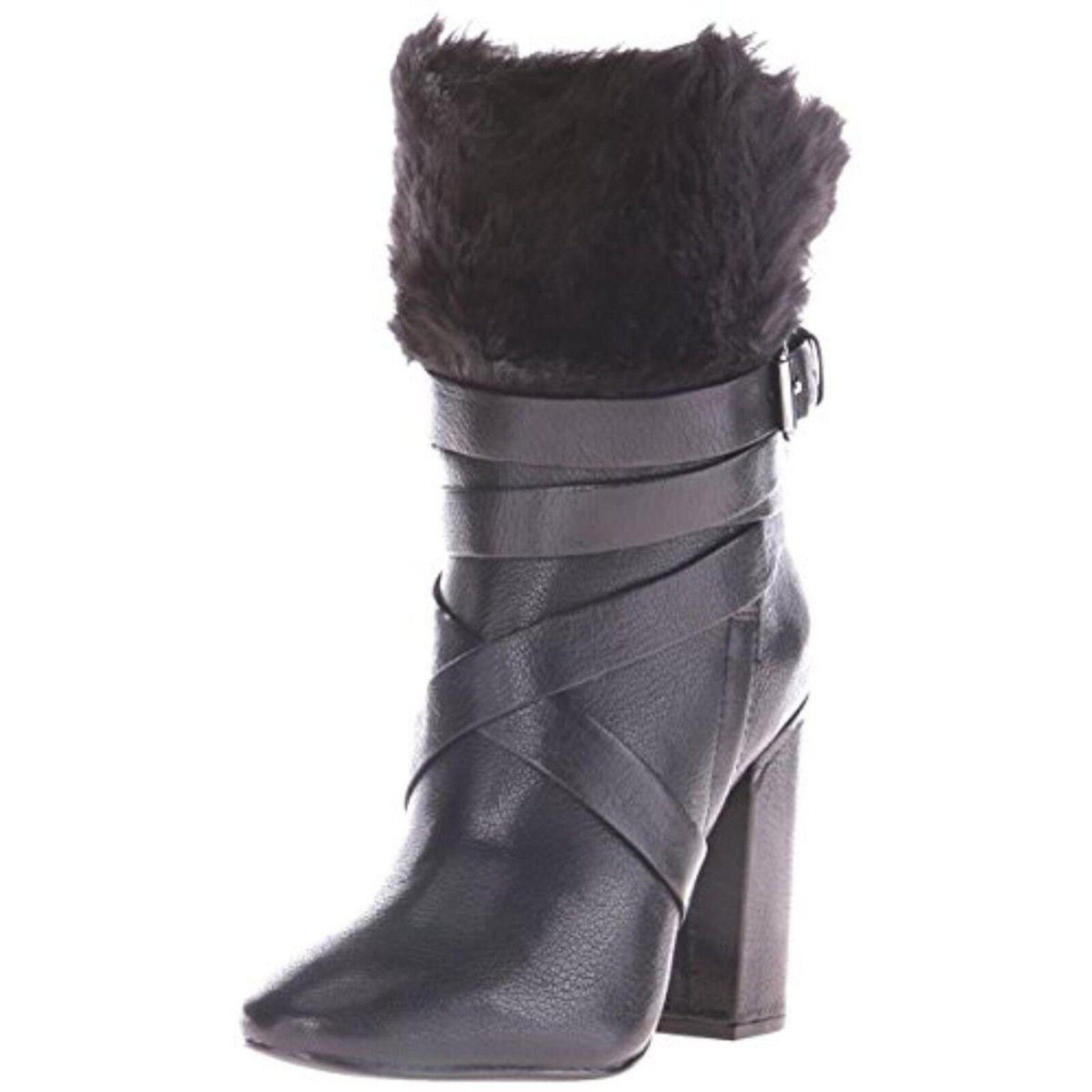 Pour La Victoire Bionda Black Leather Mid Calf Boots w/ Faux Fur Sz 6 325 NIB