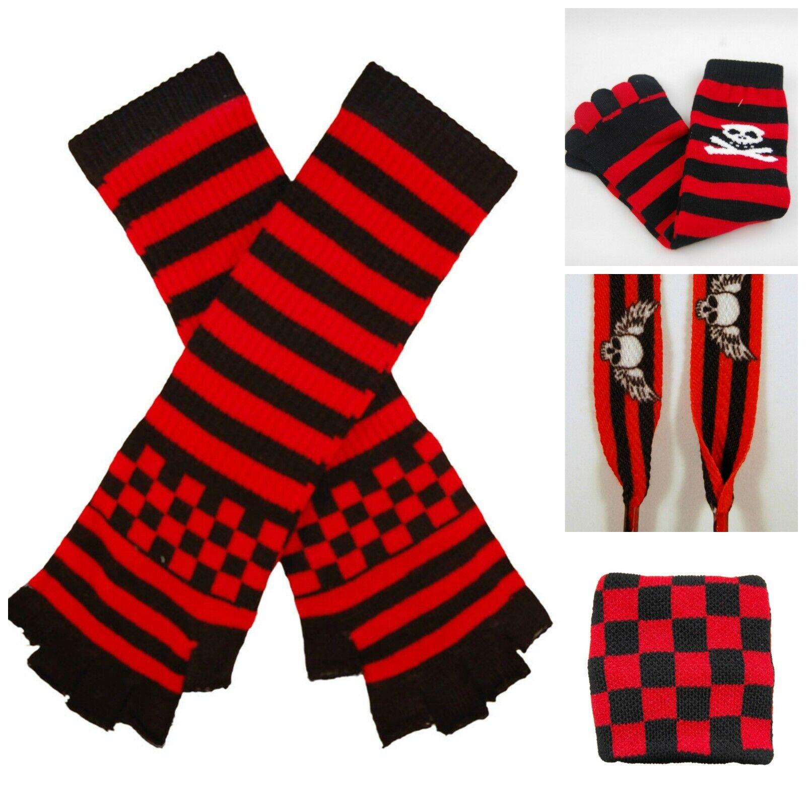 Alternative Gift Set , Emo Punk Goth ,Gloves, Socks ,Laces Wrist Band Black Red