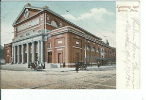 CG-081-MA-Boston-Symphony-Hall-Undivided-Back-Postcard-Old-Cars-Massachusetts