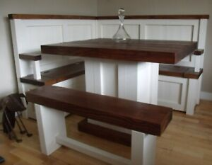 Rustic corner bench and pedestal table