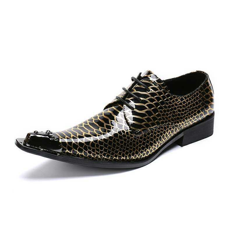 Youth Men's Trendy Serpentine Metal Decor Pointy Toe Lace Up Leather shoes