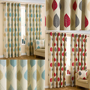 Mia Leaves Print Ready Made Eyelet Curtains Red Amp Duck