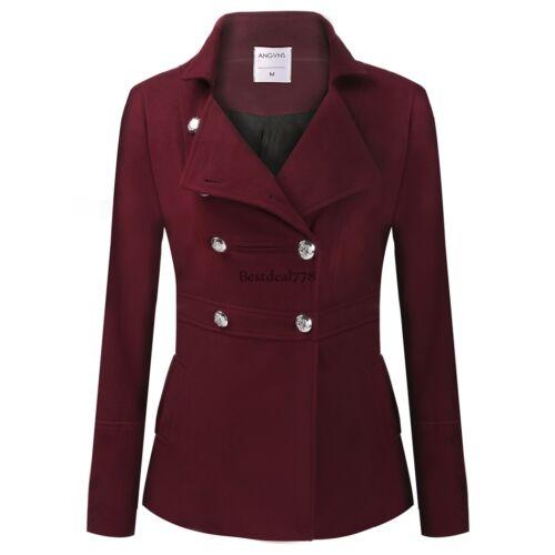 Women Long Sleeve Double Breasted Solid Long Wool Blend Coat Outerwear