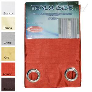 Tenda-Iside-Raso-Effetto-Seta-Shantung-Arredo-Casa-Porte-Finestre-Con-Anelli