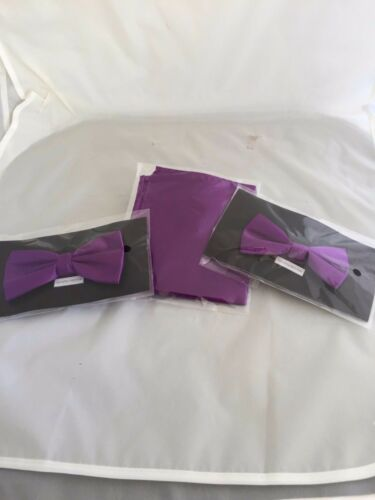 Cadbury Purple MENS or BOYS Polyester Bow ties Only-Also in Sets or Only Hankie