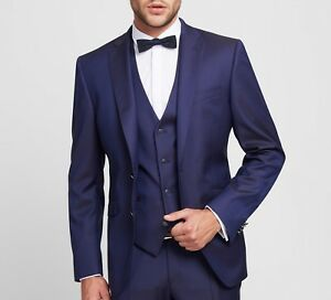 707afe971d Dettagli su Abito Blu Elegante con Panciotto Digel Slim Fit Lana Stretch  Luxury Super 110's