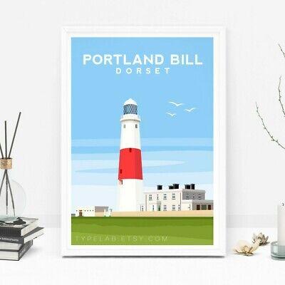 Original Illustration Dorset Travel Poster Portland Bill Lighthouse Art Print
