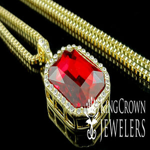 Mens gold finish rick ross red ruby solitaire emerald cut pendant image is loading mens gold finish rick ross red ruby solitaire aloadofball Gallery