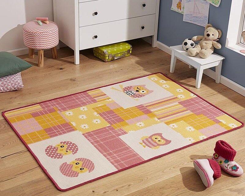 Design Enfants Tapis Tapis Chambre Chouette Rose Jaune 100x140 CM