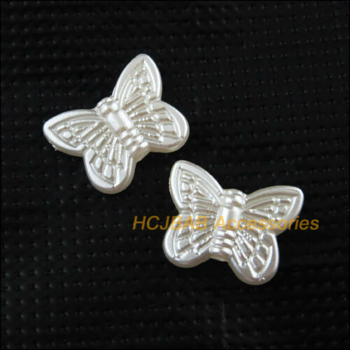 70 New Animal Butterfly Charms Acrylic Spacer Beads Pearl White 11x14mm