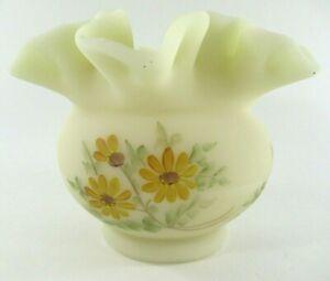 FENTON-Satin-Custard-Glass-Small-Vase-Ruffled-Rim-Hand-Painted-amp-Signed-Vintage