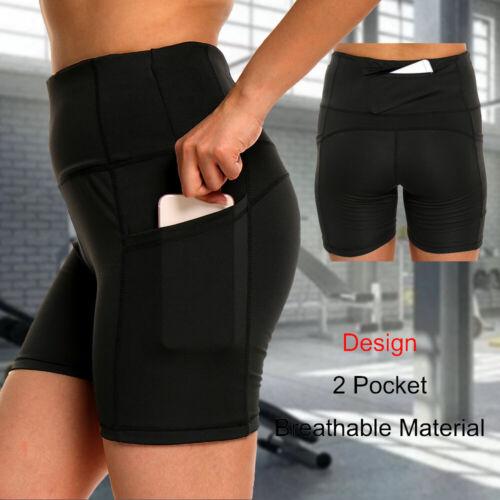 Hot Women Girl Sports Shorts Pocket Running Gym Fitness Short Pants Workout AM