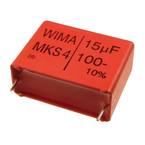 WIMA metallisierter poliestere canalizzatore mks4 100v 15uf 27,5mm 089850