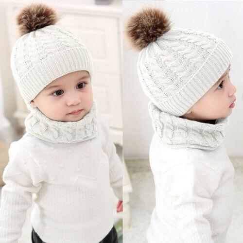 Toddler Kids Baby Boy Girl Fur Pom Hat Winter Warm Knit Bobble Beanie Cap Scarfs
