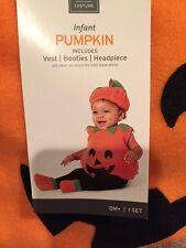 NWT Plush Pumpkin Halloween Costume Dress Up Infant 6-12 Months Vest Booties Hat