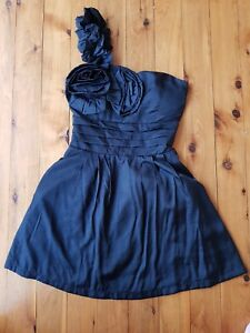 MOSSMAN-Black-One-shoulder-Dress-Size-8