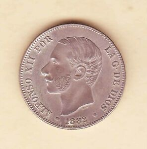 Spain-1882-King-Alfonso-2-Pesetas-Spanish-Silver-coin-Beautiful-AU