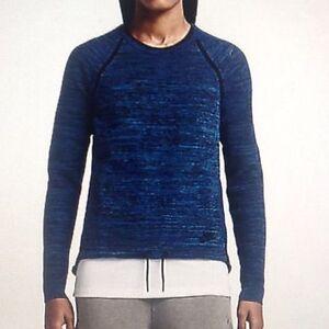 4656a70ac06 Details about Women's Nike Tech Knit Crew Running Training Top Blue Black  728669 439 Sz Small
